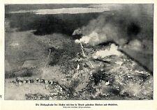 1917 Luftbild der russisch. Rückzugstrasse mit brennenden Dörfern *antique print