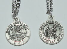 "Round US Army St Christopher Holy Medal on 24"" stainless steel continuous chain"