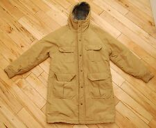 Vintage Mens WOOLRICH Coat Parka Jacket Tan Full Zip Hooded Plaid Wool Lining M
