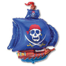 Large Pirate Ship Blue Foil Balloon Helium or Air Fill Birthday Celebration