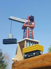 Wooden magnetic CRANE with train track underneath comes with CARGO & CAR