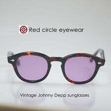 Retro glasses frame Vintage Johnny Depp sunglasses tortoise M tinted purple lens
