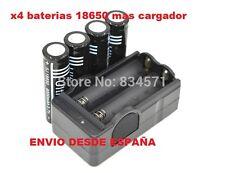 4 x BATERIAS LITIO 18650 / 3.7V 6000 MAH + CARGADOR DOBLE / DESDE ESPAÑA go