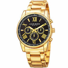 Men's Akribos Akribos XXIV AK904YGB Multifunction Black Dial Gold-tone Watch