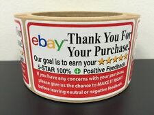 250 Ebay Thank You For Your Purchase Stickers 2 x 3  5 Star Rating Label FB