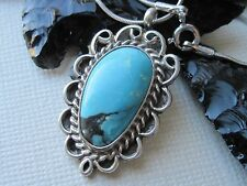Vintage Navajo Wayne Etsitty Turquoise & Silver Pendant on 925 Sterling Necklace