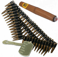 Bullet Belt, Dog Tag & Cigar 80s A Team Army Terminator Mexican Fancy Dress