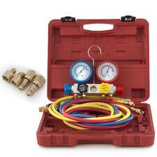 4-Valve Dual Gauge Manifold R404A R410A R22 HVAC Diagnostic A/C Charging Kit