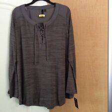 New Heartsoul - Gray Knit With Criss-Cross  Women Top Plus Size 3X