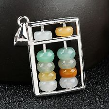 New S925 Silver & Natural Grade A Colorful Jadiete Jade Unique Abacus Pendant