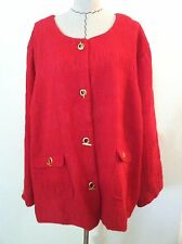New Maggie Barnes 5X woman plus red jacket blazer matte gold toggle lined size