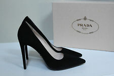 New sz 9.5 / 39.5 Prada Black Suede Pointy Toe Classic Pump Heel Shoes
