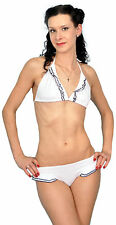Noble White Ruffle volantes 50s pin up bikini set rockabilly