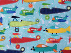 By 1/2 Yard ~ Michael Miller Soar Aqua Fabric ~ airplanes red blue yellow green