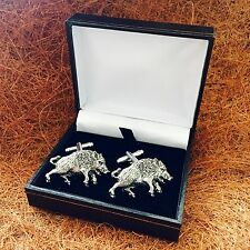 Antique Pewter Wild Boar Emblem Men's Cufflinks