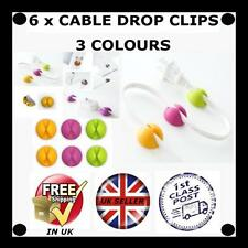 6 X Cable Drop clip desk tidy organiser wire cord lead TV USB CHARGER HOLDER YGP