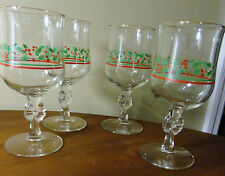 VTG SETOF 4 LIBBEY'S ARBY'S HOLLY BERRY STEM WINE GLASSES WATER GOBLET GOLD RIM
