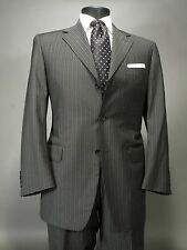 CANALI Charcoal Gray Pinstriped Suit 3 Button Side Vents, Wool, 50R Euro 40R US