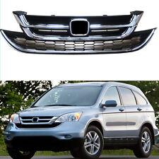 Front bumper Grille Upper+Lower ABS Chrome For Honda CRV 2010-2011
