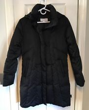 Women's CALVIN KLEIN Black Down Long Jacket Puffer Coat Removable Hood Small