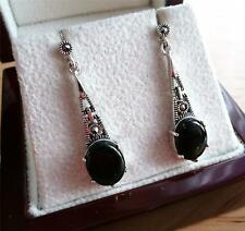 STYLISH MARCASITE BLACK ONYX 925 SILVER ART DECO DROP DANGLE EARRINGS