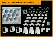 Central Vacuum 3 Port White Installation Kit Deluxe Full Door 80 foot PVC Pipe