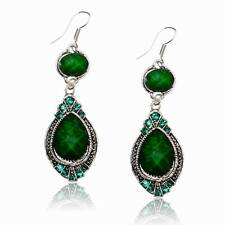 Graceful  Green Teardrop Acrylic Drop Rhinestone Gem Dangle Hook Gift Earrings
