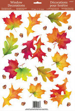 Amscan Autumn Fall Leaves Vinyl Window Clings 12 pieces Decorations New 453100