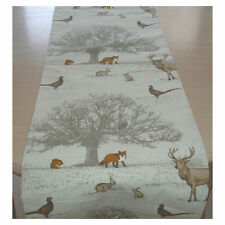 "Table Runner 120cm Brown Orange 48"" Tree Fox Squirrel Rabbit Pheasant Stag 4ft"