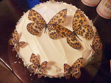 2 Large + 12 Precut Edible leopard butterflies cake/cupcake toppers