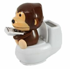 Brown Monkey Reading on Toilet Bowl Solar Toy Home Decor Holiday Gift US Seller