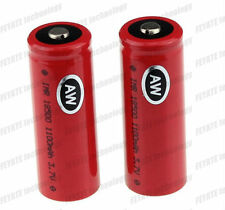 2x AW IMR 18500 3.7V 1100mAh Rechargeable Battery Button Top ,,,