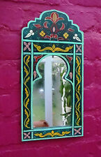 Magnifiquement peinte à la main arqué miroir du maroc * vert *