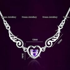CHRISTMAS SALE Angel Wings Purple Diamond Heart Necklace Gifts for Her Women C1