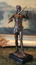 Nude Male Royalty Crown Prince Sword King Warrior Soldier Bronze Marble Statue