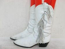 RODEO DRIVE WHITE LEATHER FRINGE COWBOY BOOTS SIZE 6 M Style 7295