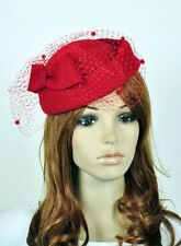Bow & Lace 100% Wool Elegant Lady Women Dress Formal Church Hat Fedora Cap Red