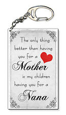 Nana Mother Mum The Only Thing Small Plastic Keyring Keychain Bag Charm