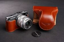 Handmade Full Real Leather Camera Case Bag for Olympus E-PM2 (For 14-42mm Lens)