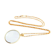 Pocket 5x Lens Chain Necklace Magnifier Monocle Jewelry