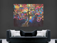 WOMEN TREE POSTER ABSTRACT TRIPPY PSYCHEDELIC ART DECO PRINT LARGE IMAGE