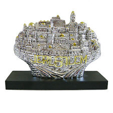 Jerusalem Panorama 3D on wood stand Silver 925 plated Electroform Judaica Israel