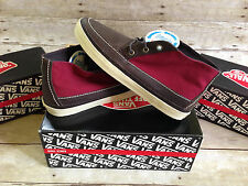VANS MESA 79 CA LEATHER CANVAS DARK BROWN RED MENS SIZE 9 SKATE SHOES