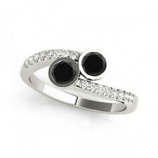 1.16 Cts Black AAA 2 Stone Diamond Solitaire Engagement Ring 14k White Gold