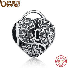 Retro Authentic S925 Sterling Silver Charms Floral Heart Padlock For Bracelets