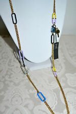 NWT $128 MARC by MARC JACOBS Link Necklace DISCO Yellow Multi Gold Plate