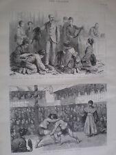 Sumo wrestling Japan & Duke of Connaught buying furs at Nikko 1890 old prints