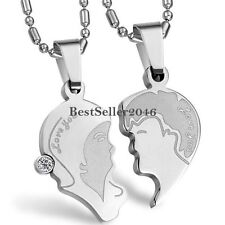 "His and Hers Silver Stainless Steel Puzzle "" Love You "" Couple Pendant Necklaces"