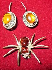 Vintage Sterlng Silver 3D Baltic Amber Spider Pin/Brooch & Amber Earring Set