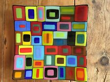 """Helen Rudy Fused Glass 10"""" Square  Retro  Platter Fusion Art Glass Signed Plate"""
